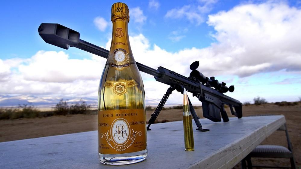 Como abrir sua champanhe com um rifle .50